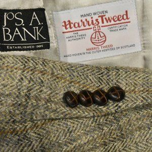 44L Jos A Bank Harris Tweed Taupe Tan Orange Plaid